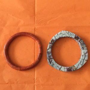 "Jewelry - 2 VINTAGE BANGLE BRACELETS 8"" DIAMETER"